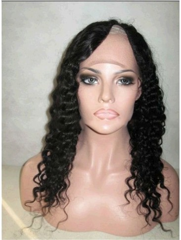 Long Curly Remy Human Hair U Part Wig