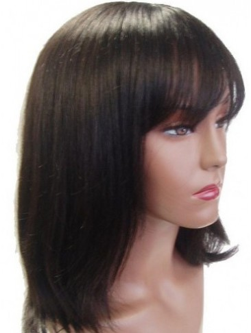 Medium Length 100% Human Hair Wig with Bangs