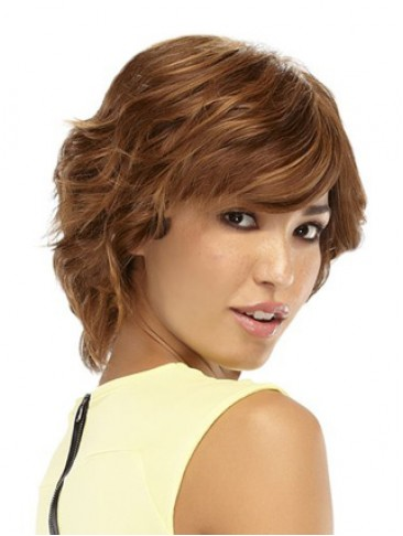 Short Shag Human Hair Wavy Wig
