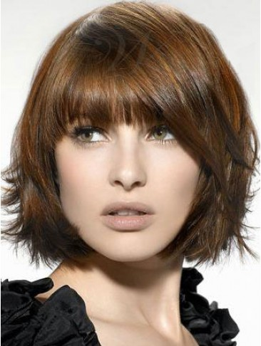 Chic Bob Straight Synthetic Capless Wig with Bangs