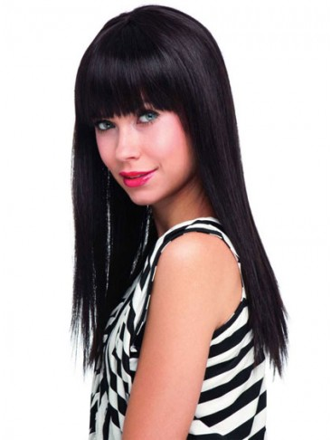 Long Strikingly Straight Human Hair Capless Wig