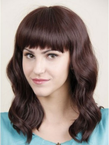 Long Wavy Lace Front Human Hair Wig with Bangs