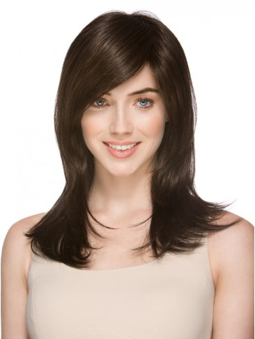 Side Parting Bang Human Hair Capless Wig