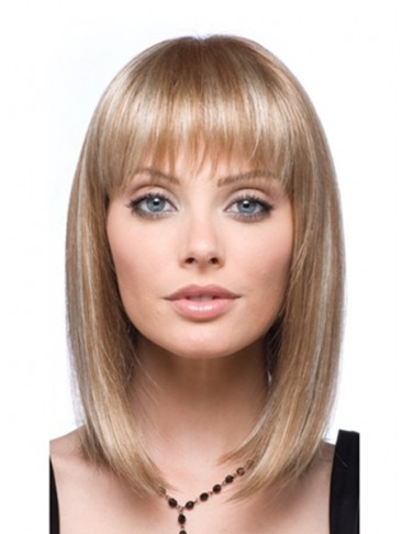 Gorgeous Medium Lace Front Straight Human Hair Wig