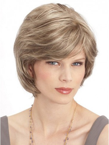Short Layered Style With Face Framing Bangs Human Hair Wig