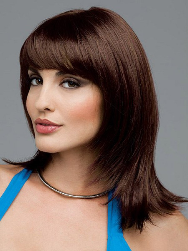 Long Smooth Layers Style With Flipped Ends Face Framing Bangs Human ...