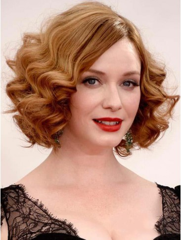 Charming Bob Hairstyle Curly Lace Front Human Hair Wig