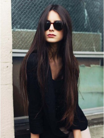 100% Remy Human Hair Soft Long Straight Lace Front Wig