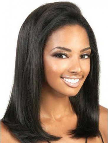 "14""  Yaki Straight Remy Human Hair Lace Front Wig"