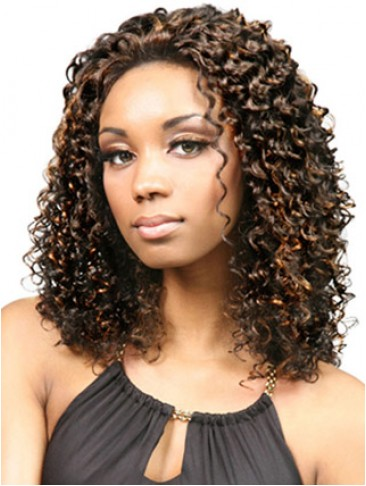 Mid-Length Curly Synthetic Lace Front Wig