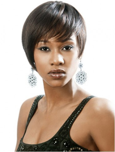 Chic Short Cut With Side Bangs Capless Wig