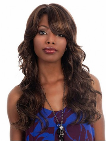 Long Layered With Side Swept Bangs Synthetic Wig