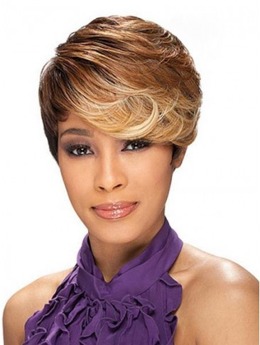 Asymmetrical style Short Wavy Synthetic Wig