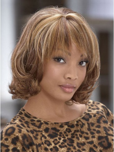 Elegant Wavy Medium Length Synthetic Capless Wig