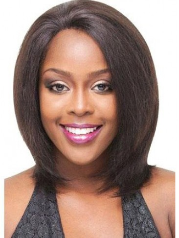 Yaki Medium Straight Remy Human Hair Lace Front Wigs
