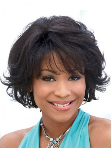 Short Wavy Synthetic Capless Wig