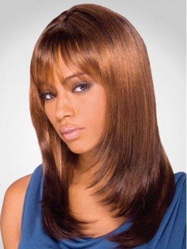 Synthetic Sleek Straight Graduated Layered wig