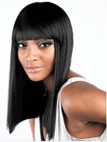Medium Straight Synthetic Capless Wig With Bangs