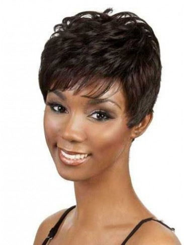 Cute Short Straight Side Bang African American Lace Wigs for Women 6 Inch