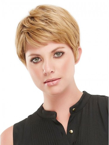 Open Cap Short Straight Synthetic Wig