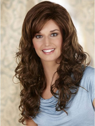 Long Synthetic Wavy Lace Front Wig With Side Swept Bangs