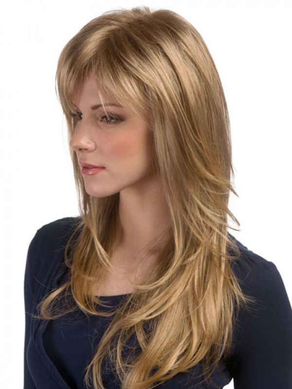 Extra Long Face Framing Feathered Layered Cut Wig, Synthetic Mens ...