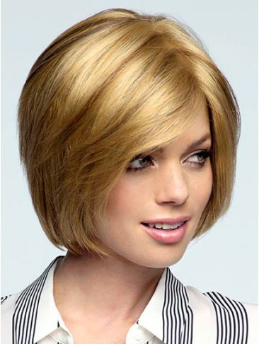 Smooth Sleek Layered Bob with Long Fringe Bangs Syhthetic Wigs