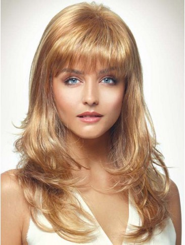 A Face Framing Fringe Long Layers Loft Waves Synthetic Wig