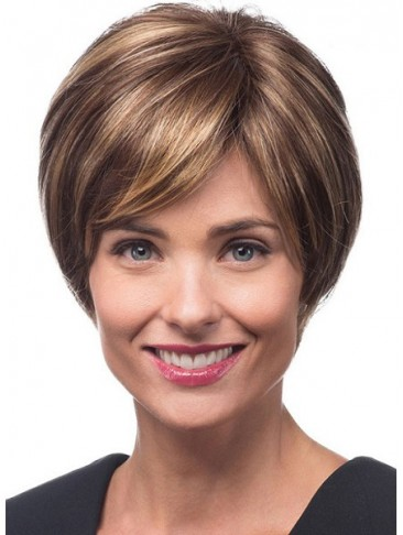 Short Smooth Layers and Swept Bangs Synthetic Wig