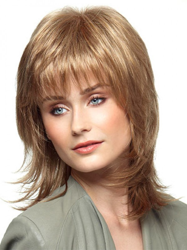 Short Wigs Shoulder Length Style With Flipped Razor Cut Layers And