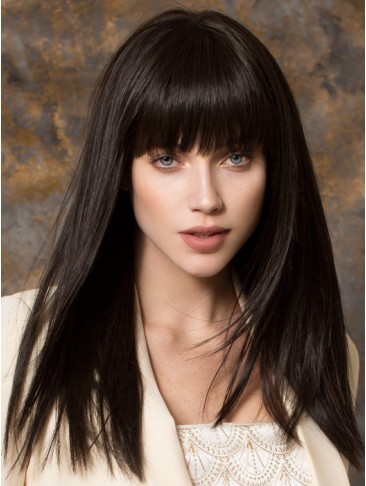 Straight Synthetic Machine Made Wig With Full Bangs