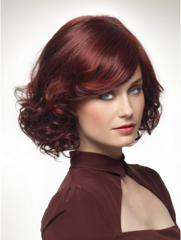 Chin Length Layered Curly Natural Volume Synthetic Wig
