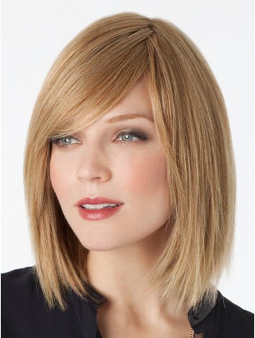 Bob Style Remy Human Hair Lace Wig with Side Swept Fringe