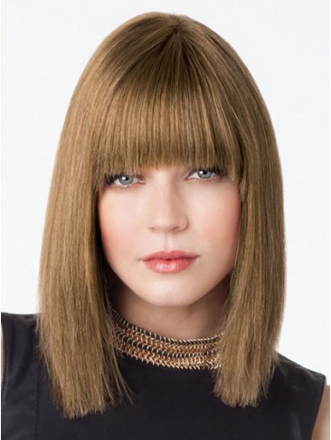 Shoulder Length Sleek Straight Human Hair Lace Wig