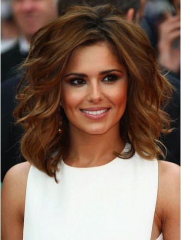 Cheryl Cole Shoulder Length Human Hair Tousled Waves Wig