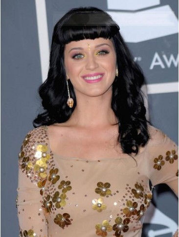 Womanly Long Wavy Katy Perry Remy Human Hair Capless Wig