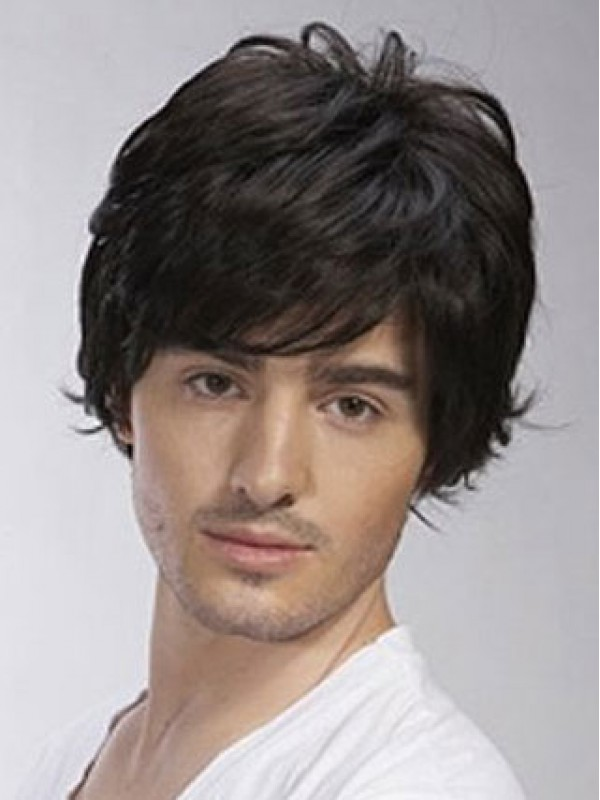 f888d1e0e Short Wavy Full Lace Remy Human Hair Mens Wig, Halloween Wigs For ...