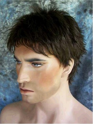 Short-length Straight Synthetic Capless Wig for Man