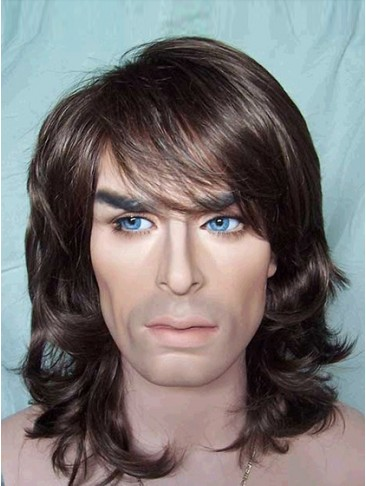 Cool Medium Wavy Synthetic Capless Wig for Man