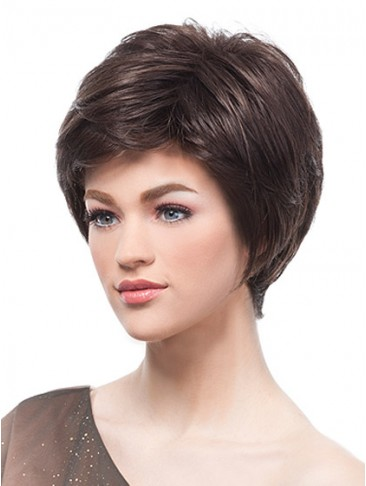 Brunette Layered Cropped Wig with Side Swept Fringe