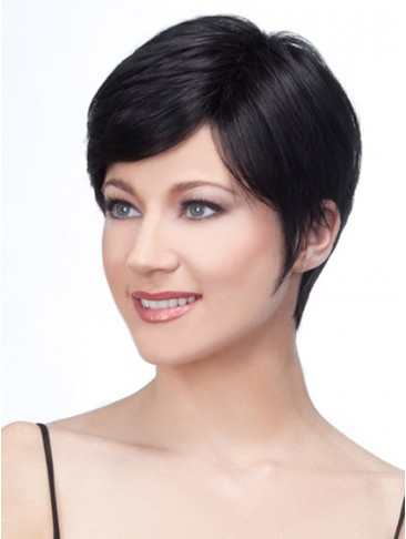 Human Hair Natural Straight Pixie Cropped Wig