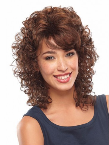 Shoulder Length Curly Front Lace Synthetic Wig