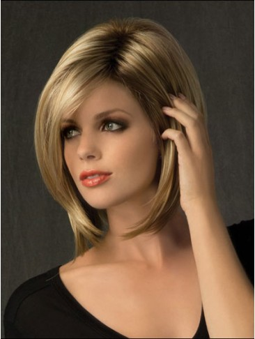 Sleek Straight Synthetic Medium Length Wig