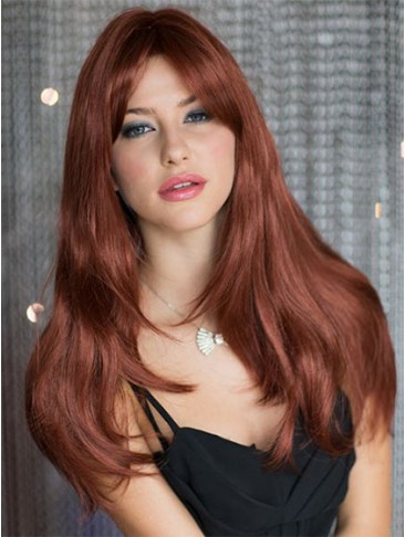 Stylish Long Red Capless Synthetic Wig