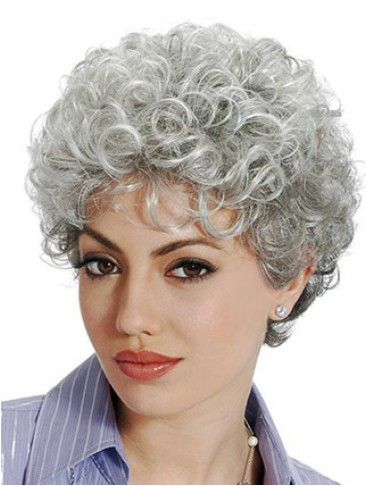 Classic Sstyle With Soft Curls Grey Wig