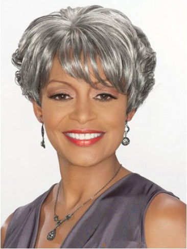 Short Wavy Synthetic Grey Wig