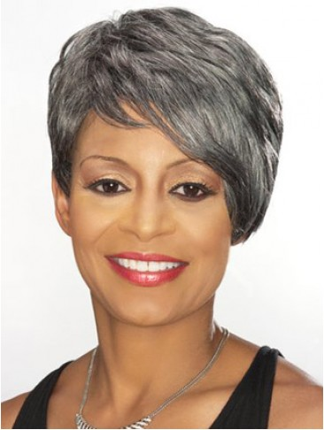 Short Side Swept Fringe Grey Wig