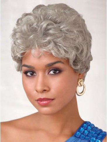 Short Wavy Style Capless Grey Wig