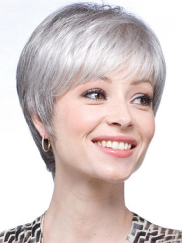 Straight Synthetic Short Lace Front Grey Wig 30153fd1ea3c