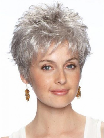 Short Layered Synthetic Lace Front Grey Wig